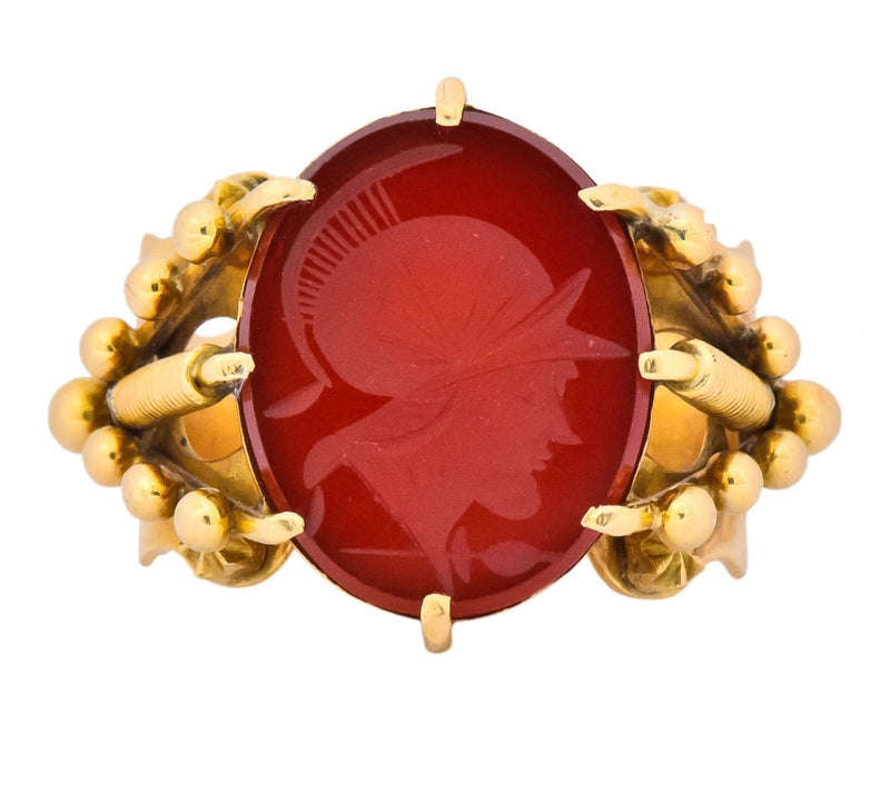 Art Nouveau Carnelian Intaglio 18 Karat Gold Greek Warrior Signet Ring - Wilson's Estate Jewelry
