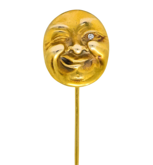 Art Nouveau Diamond 14 Karat Gold Winking Man In The Moon Stickpin Stick Pin