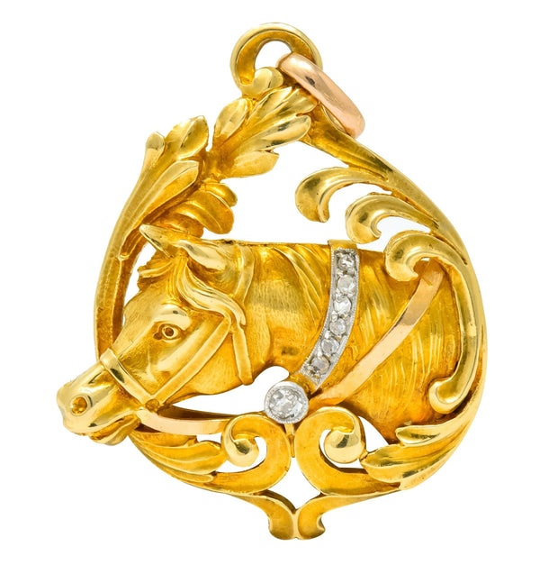 Art Nouveau Diamond 18 Karat Yellow Gold Horse Equestrian Pendant Necklace