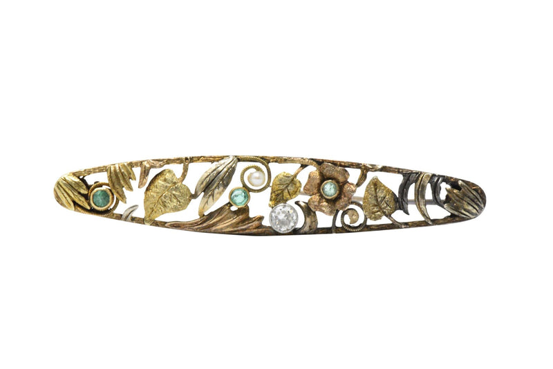 Art Nouveau Diamond, Emerald & Pearl 14K Tri-Color Gold Bar Brooch - Wilson's Estate Jewelry