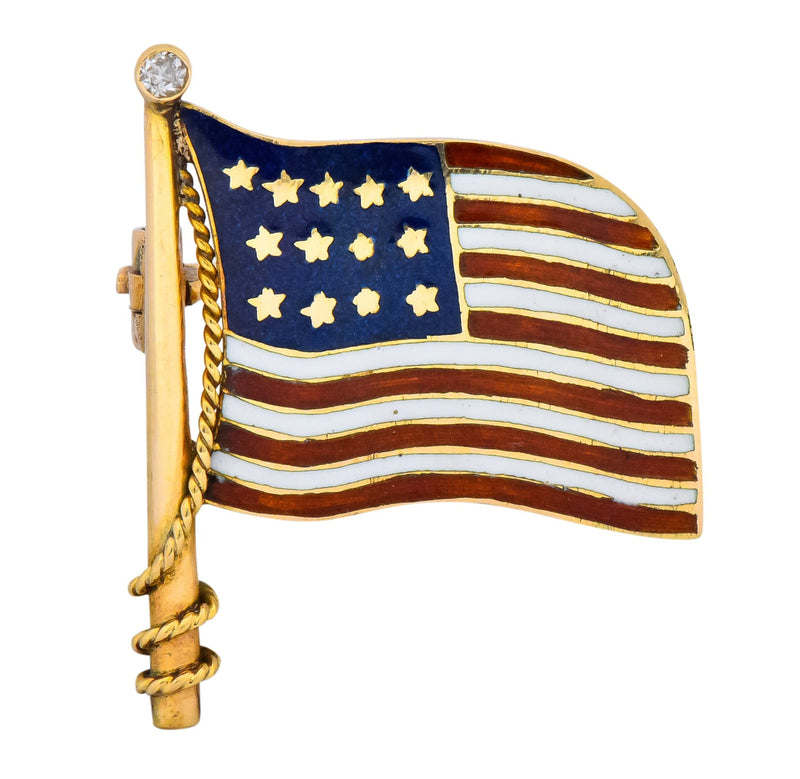 Art Nouveau Diamond Enamel 14 Karat Gold United States Patriotic Flag Pin - Wilson's Estate Jewelry