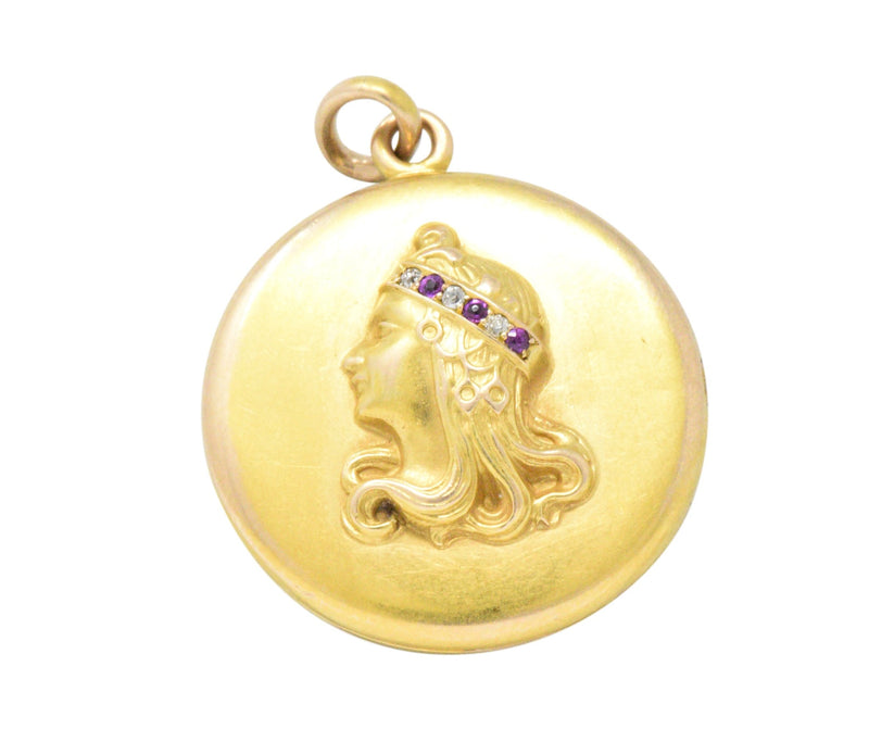 Art Nouveau Diamond Ruby 14 Karat Gold Locket Pendant - Wilson's Estate Jewelry