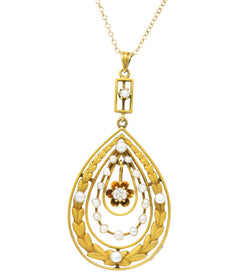 Art Nouveau Diamond Seed Pearl 14 Karat Gold Pendant Necklace Necklace