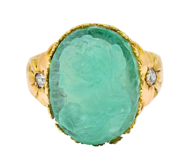 Art Nouveau Emerald Diamond 14 Karat Gold Cameo Ring Ring