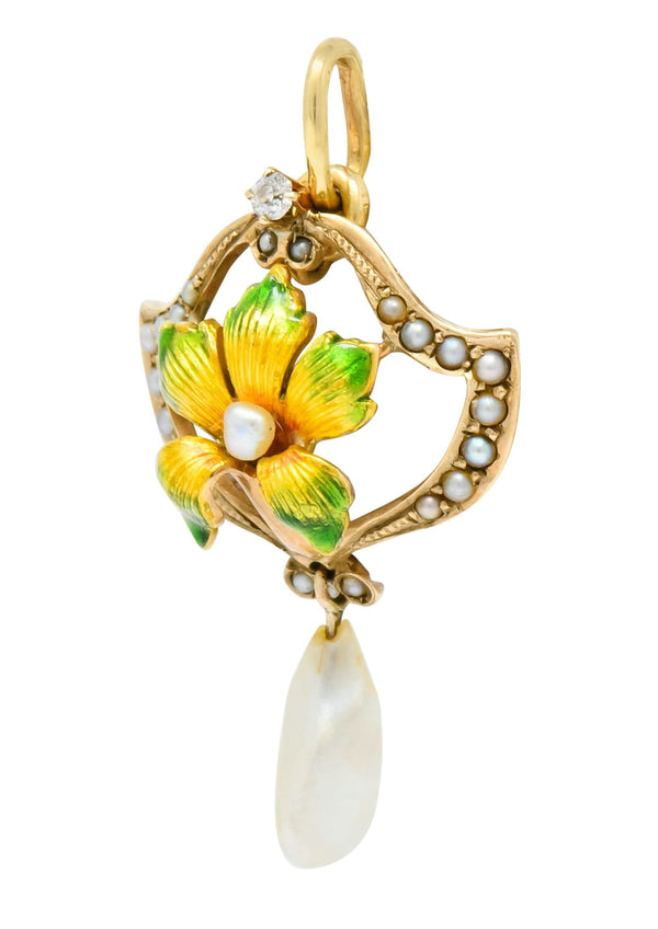Art Nouveau Enamel Pearl Diamond 14 Karat Gold Lily Flower Pendant Necklace art nouveu enamel out-of-stock pearl