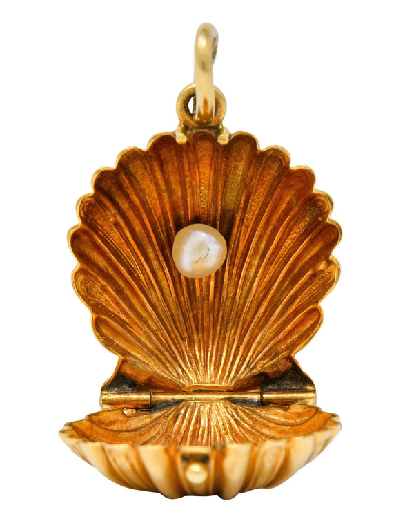 Art Nouveau Natural Freshwater Pearl 14 Karat Gold Clam Shell Locket Charm - Wilson's Estate Jewelry