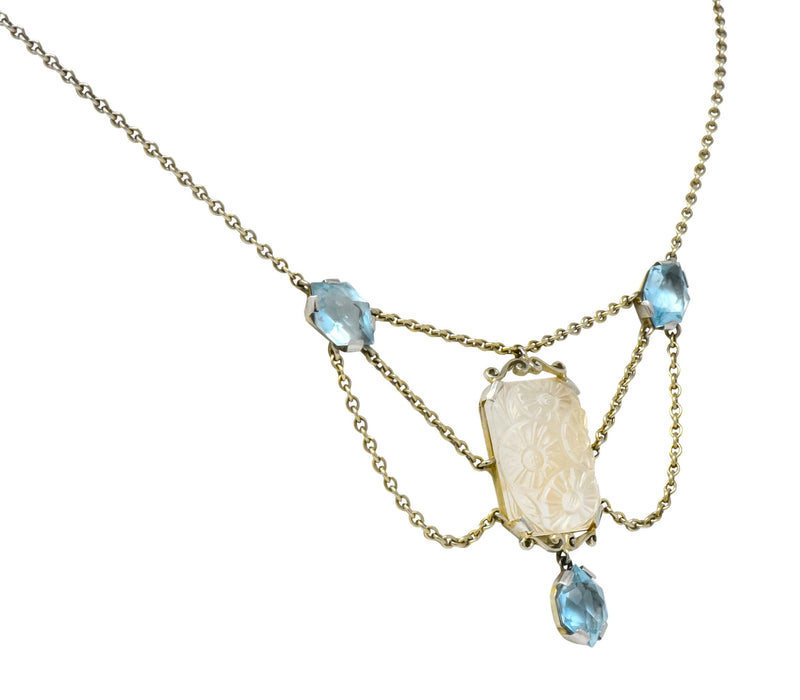 Art Nouveau Rock Crystal Mother of Pearl Aquamarine 18 Karat Gold Swag Necklace - Wilson's Estate Jewelry