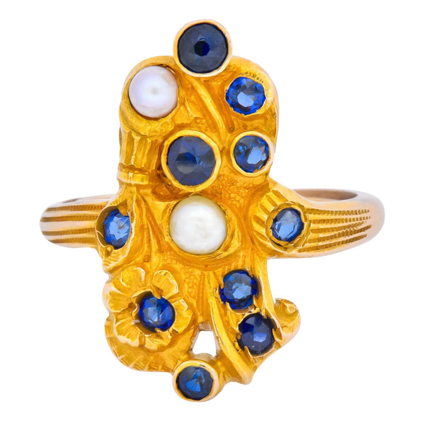 Art Nouveau Sapphire Pearl 14 Karat Gold Flower Dinner Ring Ring