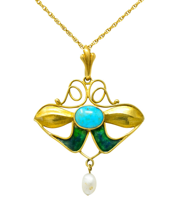 Art Nouveau Turquoise Enamel Natural Pearl Floral Drop Pendant Necklace - Wilson's Estate Jewelry
