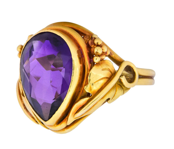 Arts & Crafts 5.75 CTW Amethyst 14 Karat Gold Ring Ring