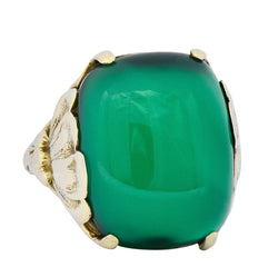 Arts & Crafts Chrysoprase 14 Karat Gold Lotus Ring - Wilson's Estate Jewelry