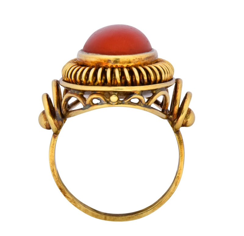 Arts & Crafts Coral Cabochon 14 Karat Gold Statement Ring - Wilson's Estate Jewelry