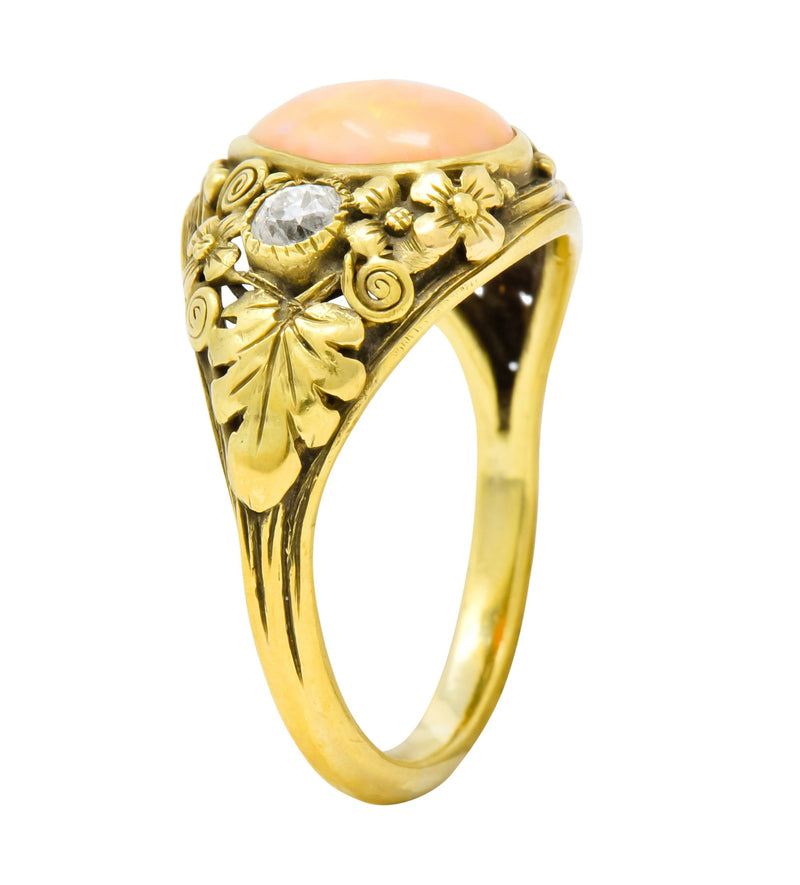 Arts & Crafts Opal Diamond 18 Karat Gold Floral Band Ring Circa 1900 - Wilson's Estate Jewelry