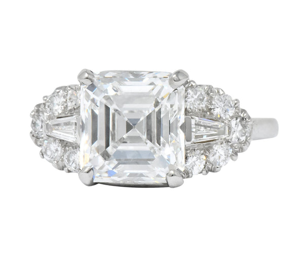 Bailey Banks & Biddle 1940s 4.08 CTW Asscher Diamond Platinum Engagement Ring GIA Ring