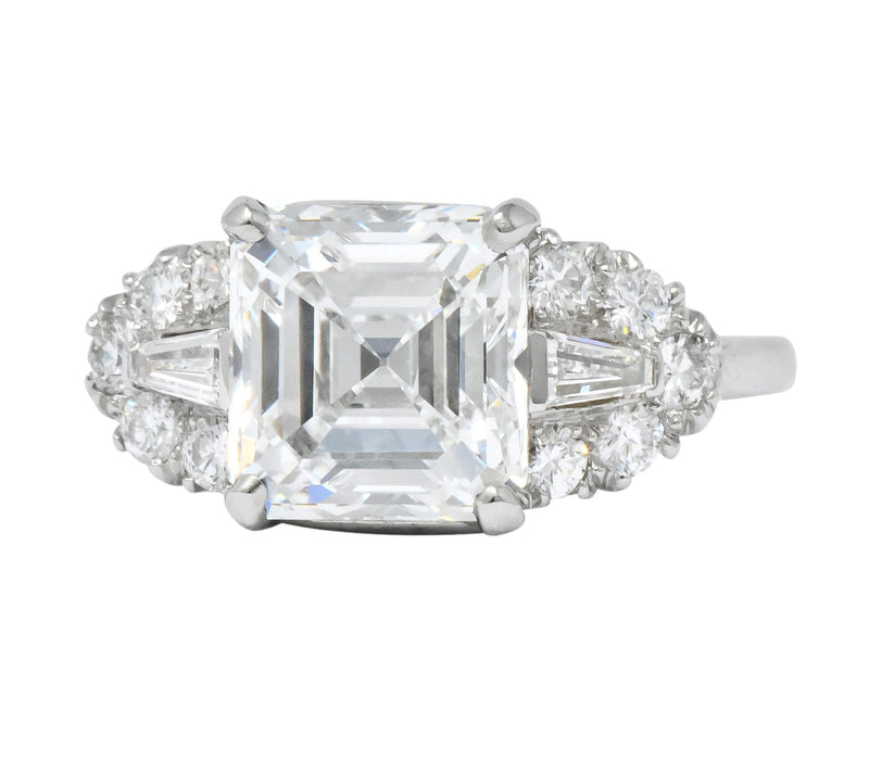 Bailey Banks Biddle 1940 S 4 08 Ctw Asscher Diamond Platinum Engagement Ring Gia Wilson S Estate Jewelry