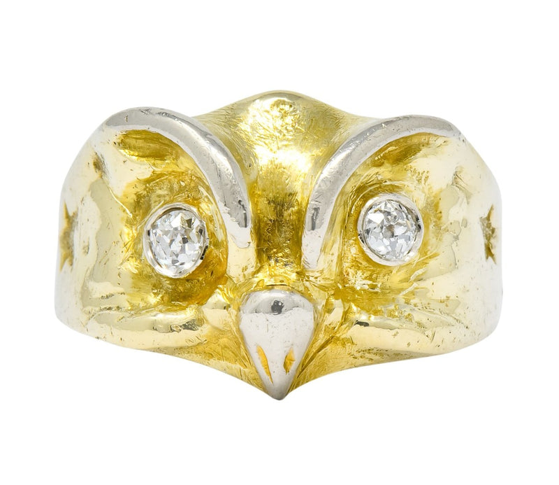 Bailey Banks Biddle Victorian Diamond 14 Karat Gold Owl Ring Wilson S Estate Jewelry