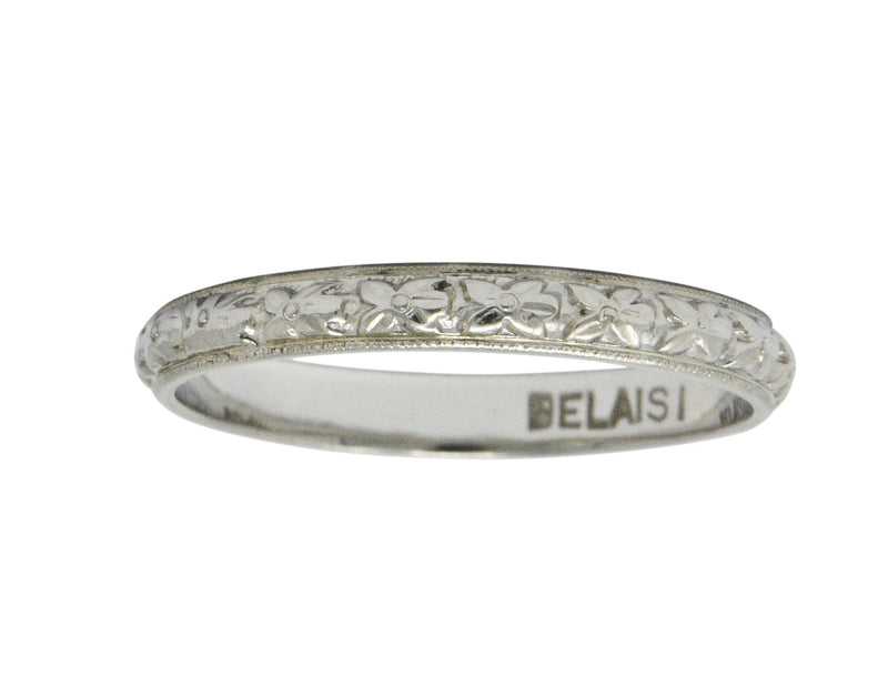 Belaisi Orange Blossom Art Deco 14 Karat White Gold Wedding Band Ring Ring Art Deco out-of-stock