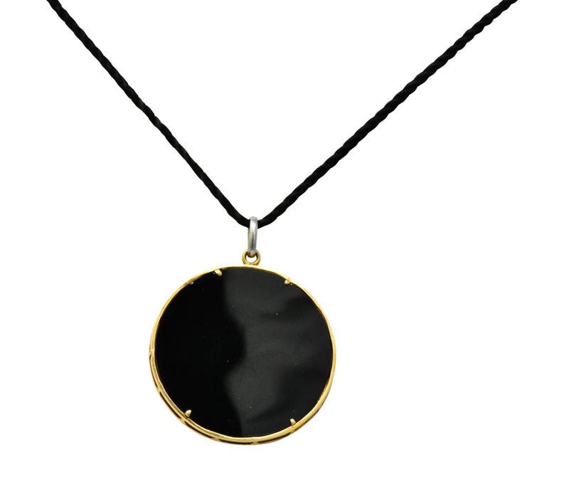 Belle Époque Diamond Onyx Platinum-Topped 18 Karat Gold French Flower Garden Pendant Necklace - Wilson's Estate Jewelry