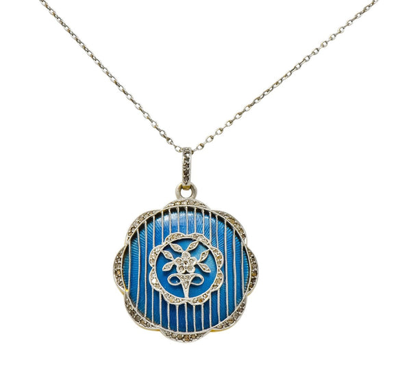 Belle Époque Enamel Diamond Platinum-Topped 18 Karat Gold French Lariat Pendant Necklace Necklace