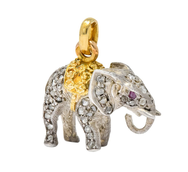 Belle Epoque French Edwardian Diamond Ruby Silver 18 Karat Gold Elephant Charm charm