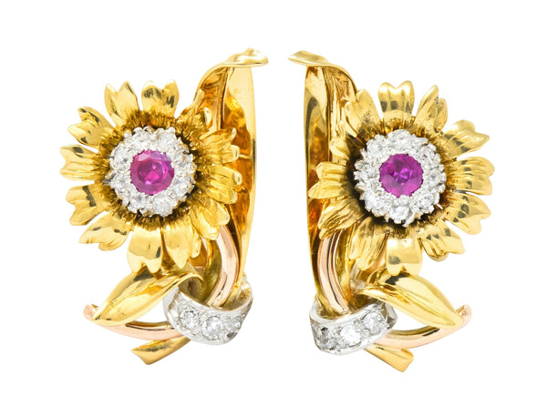 Bernard Weber Retro 1.13 CTW Ruby Diamond Platinum-Topped Flower Ear-Clip Earrings Earrings diamond Retro ruby
