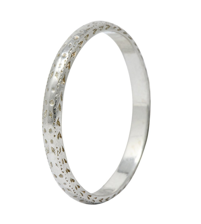 Bernstein Jewelry Co. Art Deco 18 Karat White Gold Stacking Band Ring Ring Art Deco