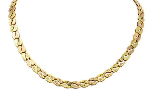 Black Starr and Frost Retro 18 Karat Two-Tone Gold Collar Link Necklace Necklace