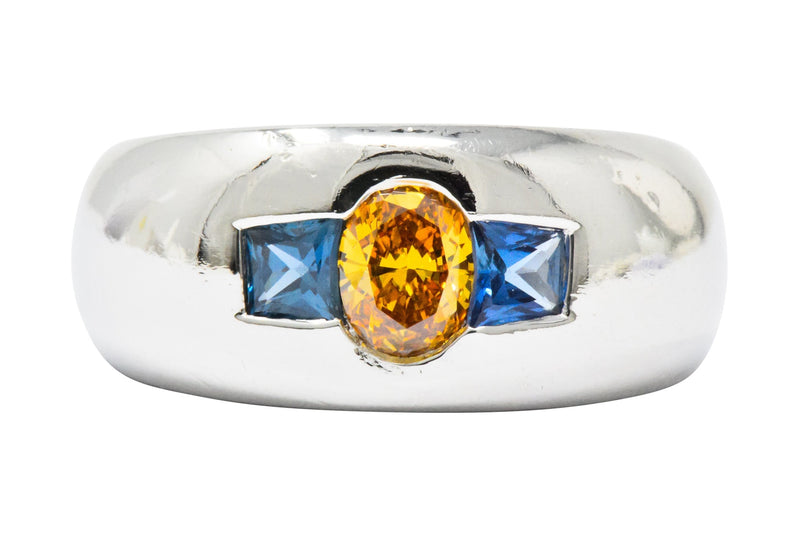 Bold 1.19 CTW Fancy Intense Yellow-Orange Diamond Sapphire & Platinum Mens Ring GIA Ring