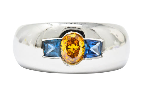4b85bd3c9 Bold 1.19 CTW Fancy Intense Yellow-Orange Diamond Sapphire & Platinum Mens  Ring GIA Ring