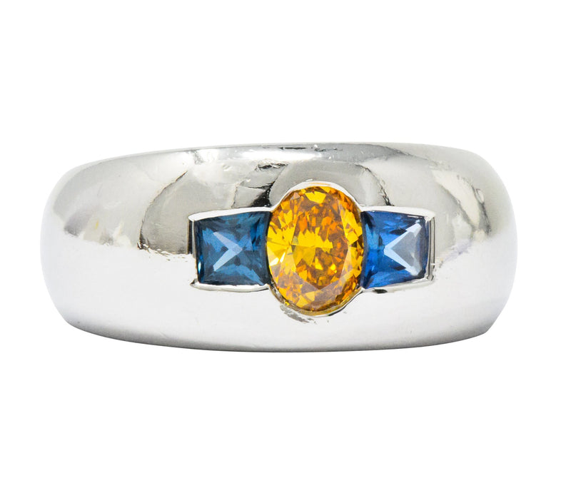 Vintage 1.19 CTW Fancy Intense Yellow-Orange Diamond Sapphire Platinum Men's Band Ring GIA - Wilson's Estate Jewelry