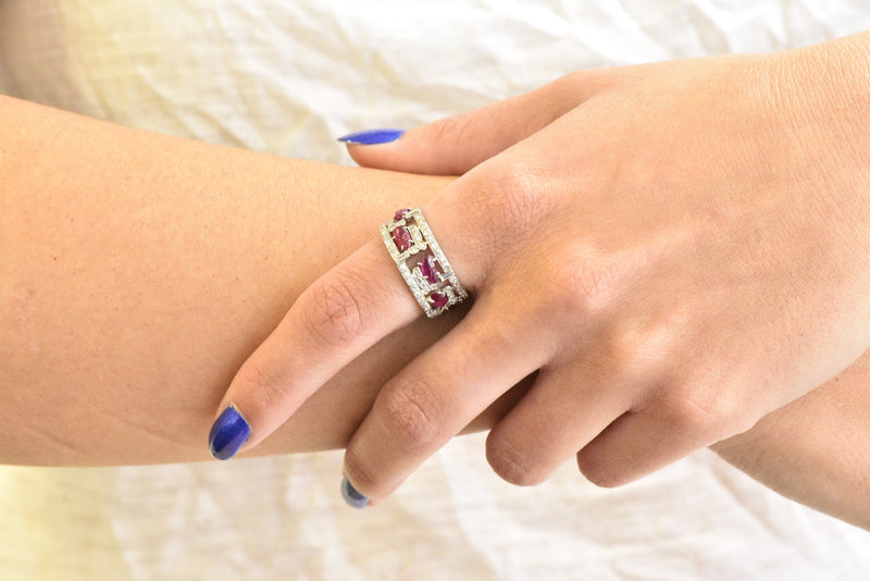Bold Art Deco 2.50 CTW Diamond Carved Burmese Ruby Platinum Band Ring - Wilson's Estate Jewelry