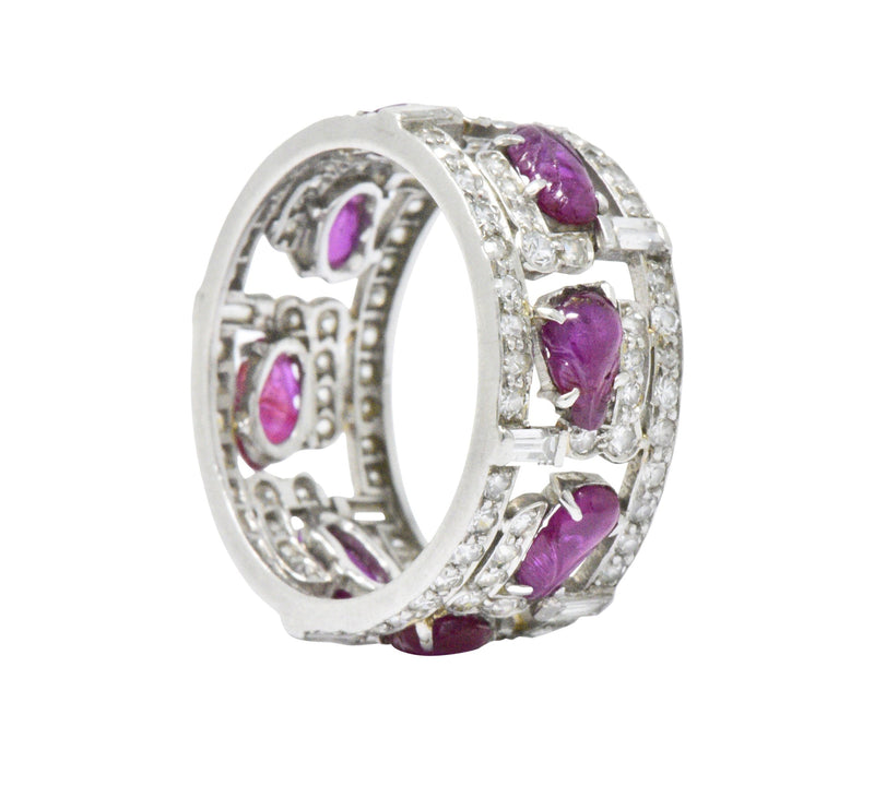 Bold Art Deco 2.50 CTW Diamond Carved Burmese Ruby Platinum Band Ring Ring Art Deco out-of-stock