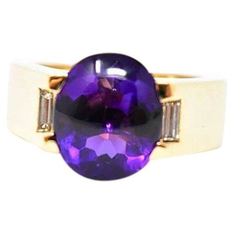 Bold Cartier Vintage 18K Yellow Gold Amethyst Diamond Unisex Ring - Wilson's Estate Jewelry