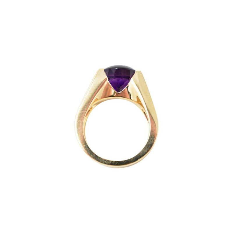Bold Cartier Vintage 18K Yellow Gold Amethyst Diamond Unisex Ring Ring