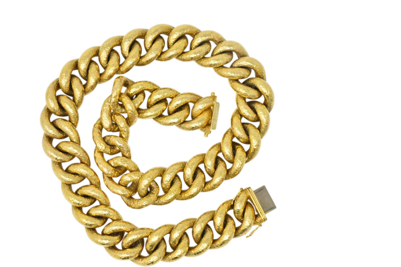 Bold Contemporary 18 Karat Gold Link Necklace - Wilson's Estate Jewelry