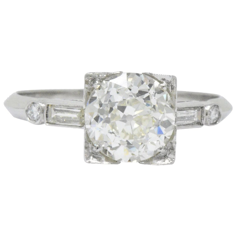Bold Retro 2.34 CTW Diamond Platinum Engagement Ring GIA - Wilson's Estate Jewelry