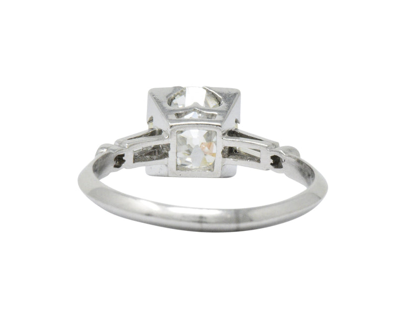 Bold Retro 2.34 CTW Old European Diamond Platinum Engagement Ring GIA - Wilson's Estate Jewelry