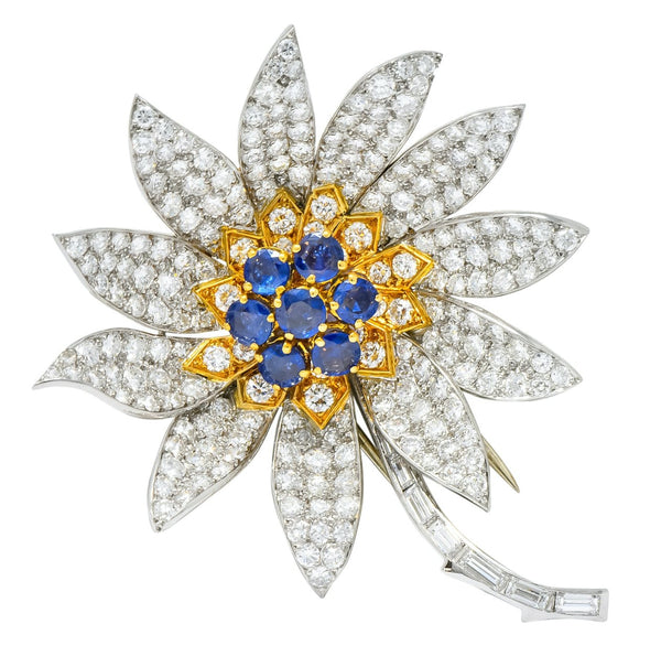 Boucheron Paris 1960s 8.60 CTW Diamond Sapphire Platinum 18 Karat Gold Flower Brooch Brooch