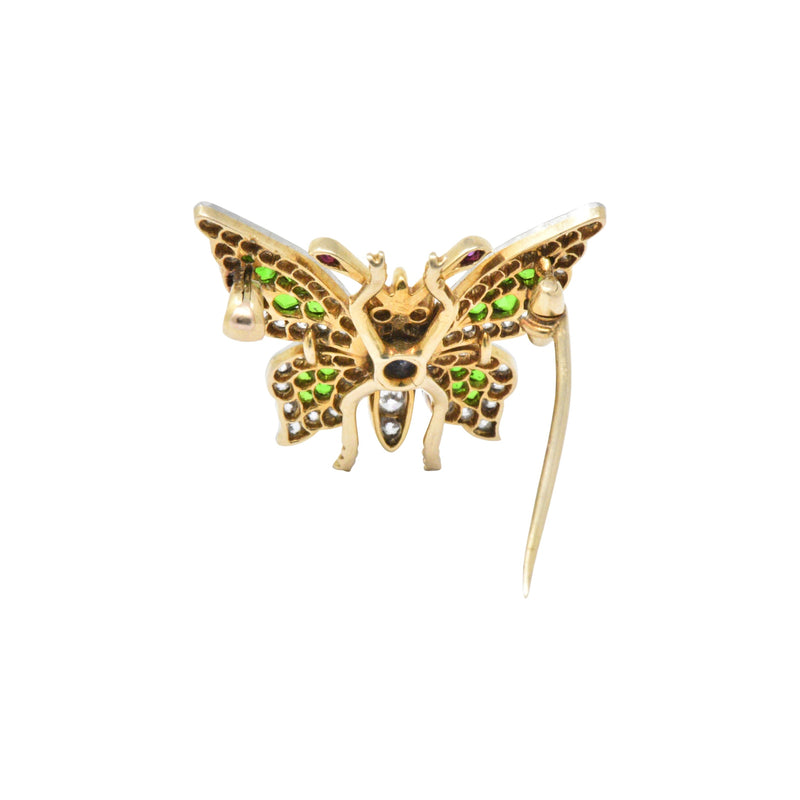 Breathtaking Belle Epoque Sapphire Demantoid Ruby Diamond & Platinum-Topped 18K Gold Butterfly Brooch Brooch