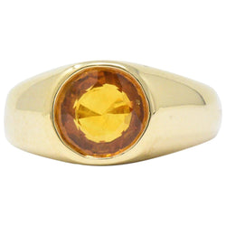 Bright 2.20 CTS Orange Sapphire & 18K Gold Men's Ring - Wilson's Estate Jewelry