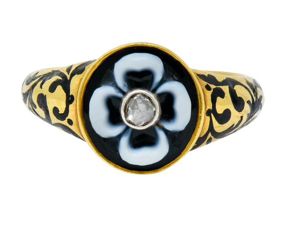 British 1882 Victorian Diamond Onyx Enamel 18 Karat Gold Flower Mourning Ring Ring