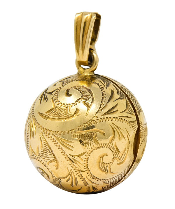 British 9 Karat Yellow Gold Engraved Ball Locket Pendant Necklace