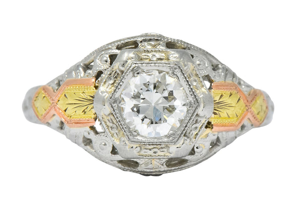 Bud & Blossom Art Deco 0.42 CTW Diamond 14 Karat Tri-Colored Gold Engagement Ring - Wilson's Estate Jewelry