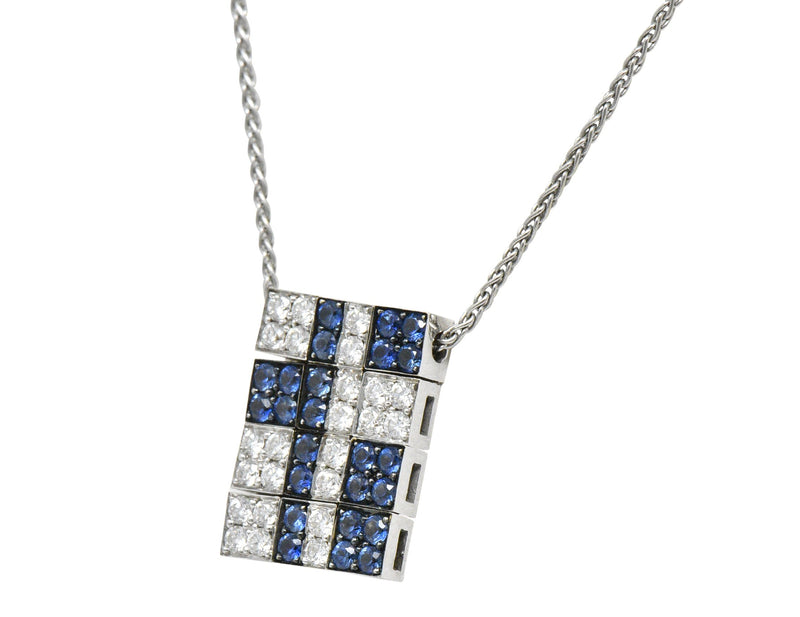 Bulgari 1.25 CTW Diamond Sapphire 18 Karat White Gold Enigma Necklace - Wilson's Estate Jewelry