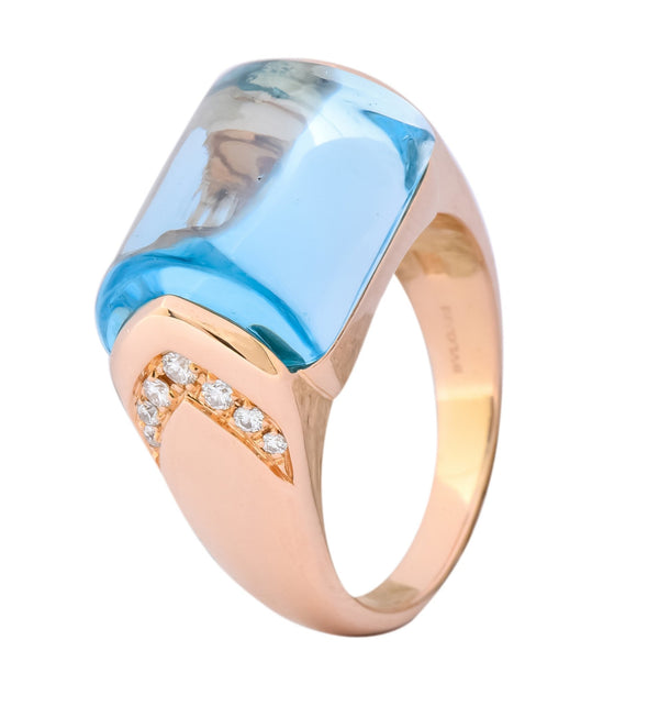 Bulgari 14.24 CTW Blue Topaz Diamond 18 Karat Gold Italian Tronchetto Ring Ring