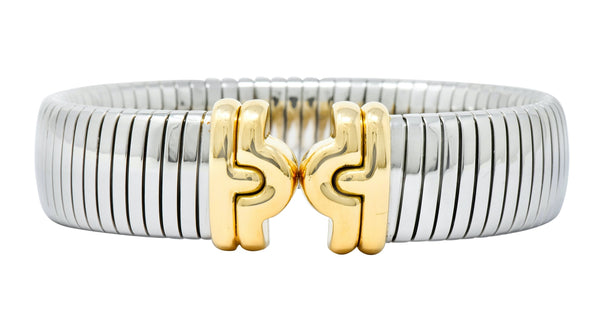 Bulgari 18 Karat Gold Steel Parentesi Tubogas Cuff Bracelet bracelet bulgari Contemporary Most Wanted out-of-stock signed