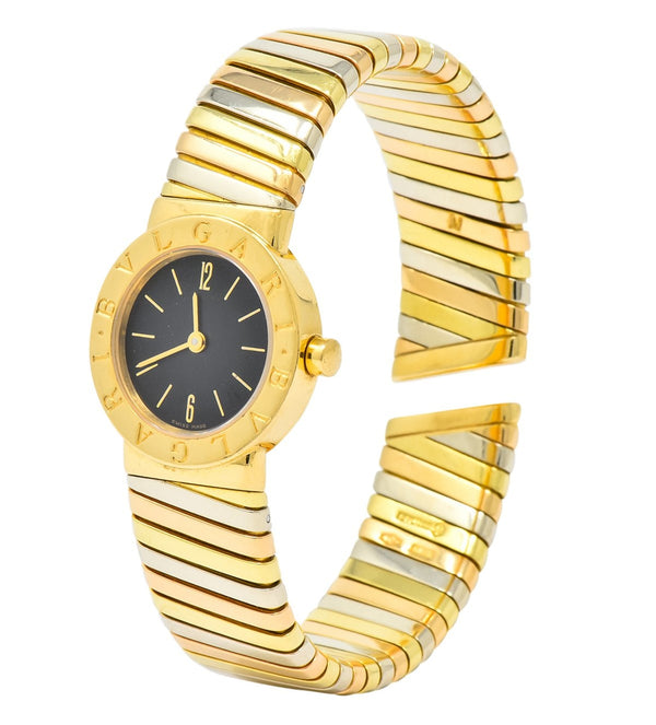 Bulgari 18 Karat Tri-Color Gold Tubogas Serpenti Flex Band Quartz Wrist Watch bracelet