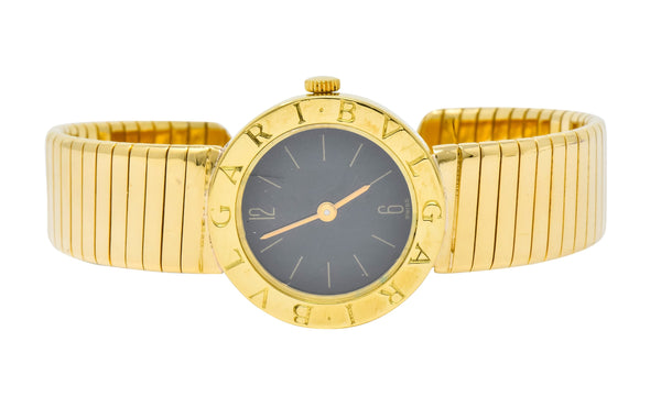 Bulgari 18 Karat Yellow Gold Tubogas Serpenti Flex Band Quartz Wrist Watch - Wilson's Estate Jewelry