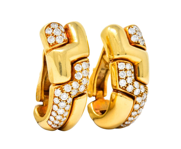 Bulgari 2.22 CTW Diamond 18 Karat Gold J Hoop Earrings Circa 1980 Earrings bulgari Contemporary diamond Round brilliant signed