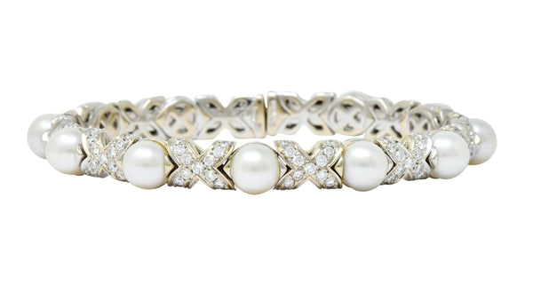 Bulgari 2.88 CTW Diamond Cultured Pearl 18 Karat White Gold X Cuff Bracelet bracelet Bulgari Contemporary diamond pearl signed